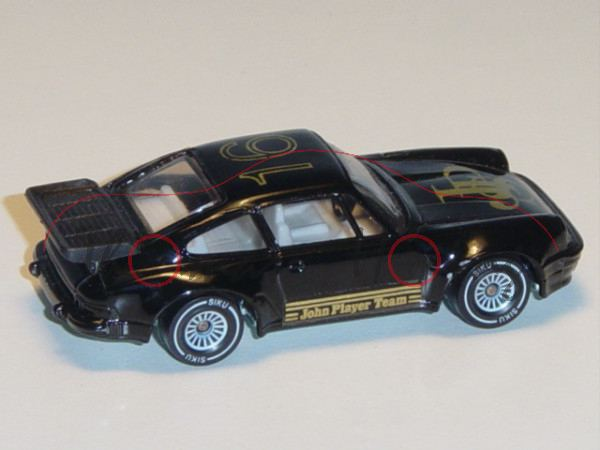 Porsche 911 Turbo 3,3 (G-Modell Typ 930, Modell 1978-1989) Rallye, schwarz, innen reinweiß, Lenkrad