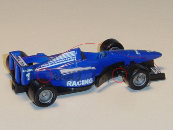 00000 Formel 1 Rennwagen, hell-ultramarinblau/schwarz, Sitz schwarz, RACING / PERFORMANCE / 1, Chass
