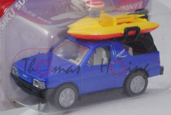 Opel Frontera 2.0i Sport (Typ A, 1. Gen., Dreitürer, Modell 1991-1995) mit Boot, hell-ultramarinblau
