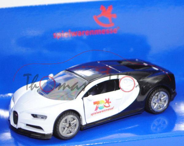 00401 Bugatti Chiron (Modell 2016-), reinweiß/schwarz, 70 YEARS / spielwarenmesse®, Werbeschachtel