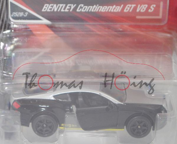 Bentley Continental GT II V8 S 4.0 (Typ Coupé, Mod. 2015-2018), weißalu/schwarz, majorette, 1:64, mb