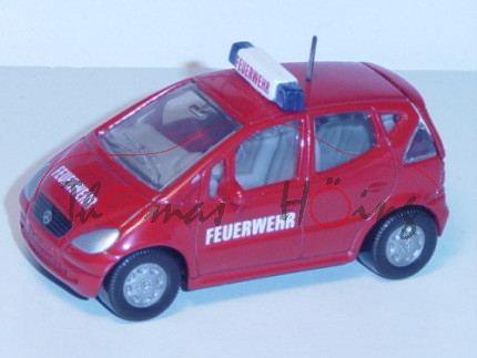 00000 Mercedes A 160 (Baureihe W 168) Feuerwehr-Vorauswagen, Modell 1997-2001, karminrot, FEUERWEHR,