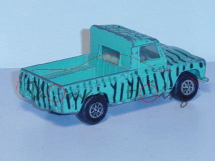 Land Rover Safari, türkisgrün mit schwarzen Streifen, CORGI TOYS, mit Spielspuren
