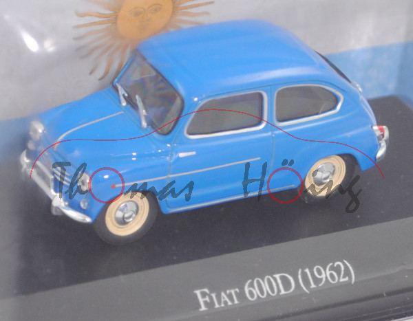 FIAT 600 D (2. Generation, Typ 100, Modell 1960-1964), blau, EDITION ATLAS, 1:43, Hauben-Blister