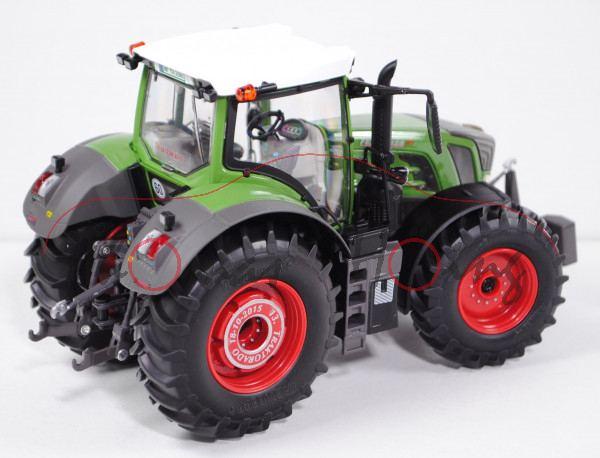 Fendt 828 Vario Traktor (2014), resedagrün/grau, Aufkleber TRAKTORADO vorne und hinten auf der Vergl