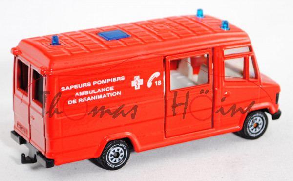 00100 Mercedes-Benz 809 D (Typ T 2 neu, Baumuster: 670, Mod. 86-96) Rettungswagen, verkehrsrot, SAPE