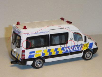 84000 Mercedes Sprinter Polizei Mannschaftswagen, reinweiß, POLICE / CALL 111 IN ALL EMERGENCY / Saf