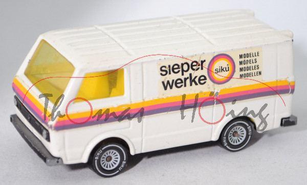 VW LT 28 Kastenwagen (1. Gen., Mod. 1975-1982), reinweiß, sieper / werke / siku, Verglasung gelb, m-