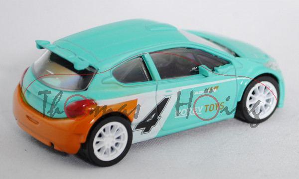 Peugeot 208 T16 R5 WRC (Modell 2013-), türkis/reinweiß/hell-gelborange, Nr. 4, ADVAN / NOREV TOYS, c