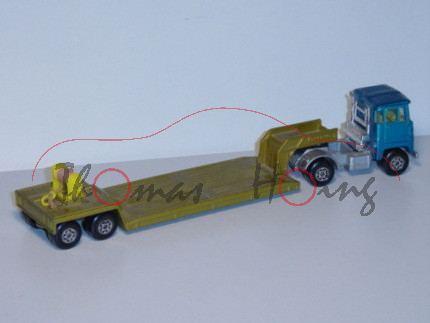Scammell Tractor Lowloader, wasserblaumetallic/goldmetallic, mit Seilwinde, ohne Ladegut, Matchbox S