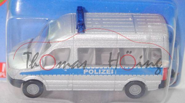 00006 MB Sprinter II (W 906, Mod. 2006-2013) Polizeibus, silber, POLIZEI, hohe Blaulichtleiste, P29e