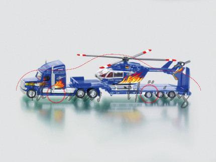 Helicopter Stunt-Team mit US-Truck und Hubschrauber, verkehrsblaumetallic, STUNT SHOW, mit Flammen-D