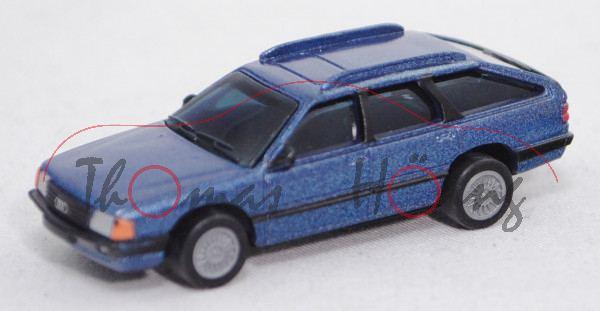 Audi 100 Avant (C3, Typ 44, Mod. 1983-1988), blaumetallic, mit Sammelflyer, BOSS, 1:87, mb (Limited)
