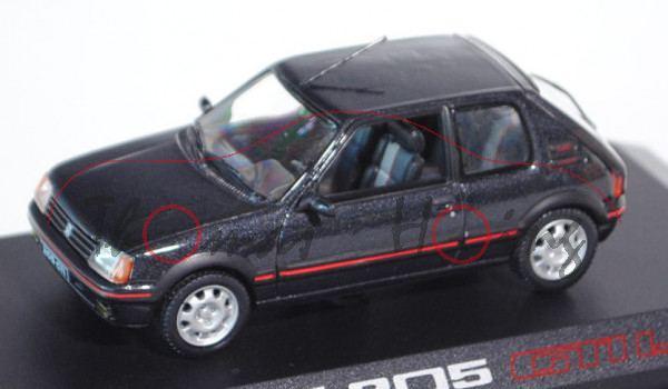 Peugeot 205 GTI 1.9, Modell 1984-1990, schwarz, Norev, 1:43, PC-Box