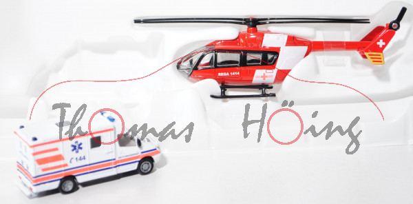 CHD-Rettungsdienst-Set bestehend aus Mercedes Sprinter und Hubschrauber, weiß mit Streifen in tagesf