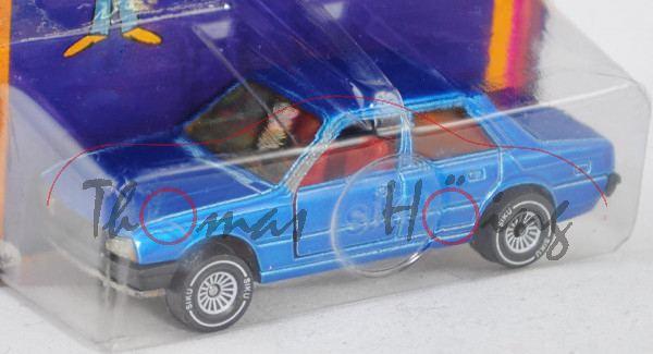 00001 Peugeot 505 STi (Modell 1979-1982), verkehrsblaumetallic, innen verkehrsrot, Lenkrad schwarz,