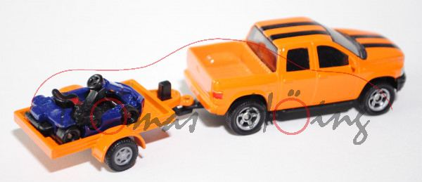 00003 Pick-Up (vgl. Dodge RAM 1500 Quad Cap, Modell 2006-2009) mit Anhänger und Cart, hellrotorange