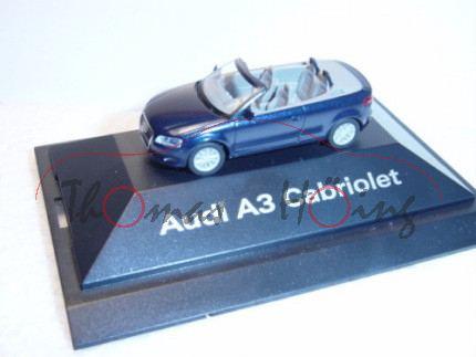 Audi A3 Cabriolet, Mj. 2008, tiefseeblau, Herpa, 1:87, Werbeschachtel