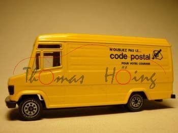 00100 Mercedes-Benz 809 D (Typ T 2 neu, Baumuster: 670) Postwagen, Modell 1986-1996, gelb, code post
