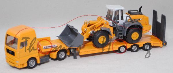 00000 MAN TG460A XXL Tieflader mit LIEBHERR L 580 Radlader, liebherr gelb/grau, C27c / C28c, L17mpK