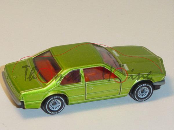 00001 BMW 633 CSi (Typ E24, Modell 1975-1979), gelbgrünmetallic, innen rotorange, Lenkrad rotorange,