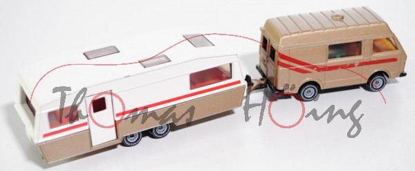00001 VW LT 28 Camper mit Hochdach (Modell 1975-1986) und Caravan, braunmetallic, Druck beim LT leic