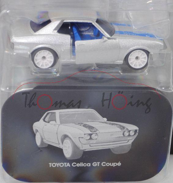 Toyota Celica GT 1600 Gruppe 2 (Mod. 76-77), silber, blaue Streifen, mit Metalldose, majorette, 1:56