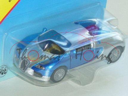 00002 Bugatti EB 16.4 Veyron (Modell 2005-2012), verkehrsblaumetallic/weißaluminiummetallic, innen s