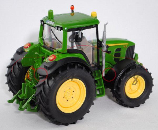 John Deere 7430 Premium Traktor (Modell 2007-2011), smaragdgrün, Sitz hell-terrabraun mit Druck John