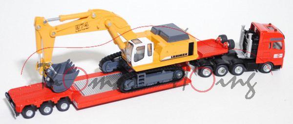 80400 NZ MAN Schwertransport mit Tiefbettauflieger und Liebherr 974 Litronic Raupenhydraulikbagger,
