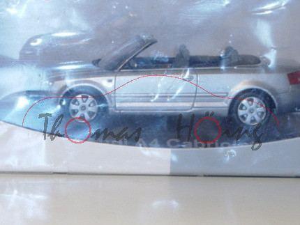 Audi A4 Cabrio, Mj. 2003, lichtsilber, Norev, 1:43, Werbeschachtel