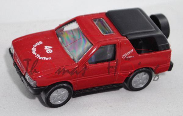 Opel Frontera (Typ B, 2. Gen., Mod. 1998-2000), rot, 4e / Siku-Bier-Treffen auf Motorhaube, Werbebox