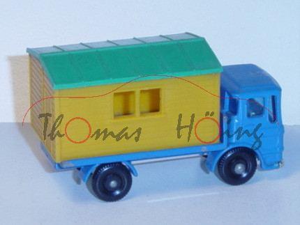 Site Hut Truck, himmelblau, abnehmbaree Hütte in grün/chromgelb, Matchbox Series