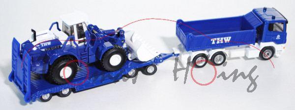 00000 Scania R380 LKW mit Anhänger und Radlader, blau/weiß, THW / Hildesheim, 1:87, L17mK
