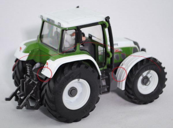 Fendt Favorit 712 Vario Traktor (Modell 1999-2003), reinweiß/hell-grasgrün/hell-umbragrau, Test & Tr