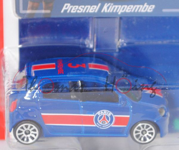 Renault Twingo (3. Gen., Mod. 14-19), blau, 3 / KIMPEMBE, mit Sammelkarte, majorette, 1:54, Blister