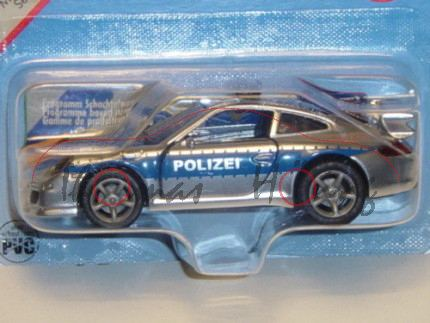 00001 Porsche 911 Carrera S Autobahn-Streifenwagen, chromsilber/blau, POLIZEI, P29a