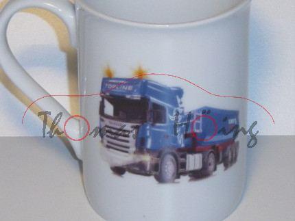 Siku Jahrestasse 2009, weiß, mit Abbildung des Scania Sattelkipper 6725, Villeroy & Boch, Geschenkbo