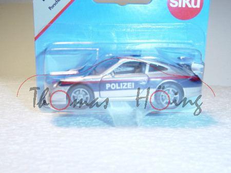 03800 Porsche 911 Carrera S (Typ 997) Autobahn-Streifenwagen, Modell 2004-2008, weißaluminiummetalli