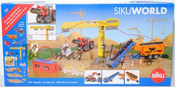 00000 Baugrube für SIKU WORLD, Inhalt: Massey Ferguson 8690 mit Frontlader+Förderband+Baukran, L18