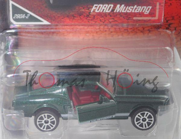 Ford Shelby Mustang I Fastback (2. Gen., Mod. 1967-1968), moosgrünmetallic, majorette, 1:62, Blister