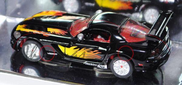 Dodge Viper SRT-10 Coupé (Typ ZB, Phase II), Modell 2008-2010, schwarz, innen rot, Felgen silber, ro