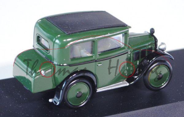 BMW Dixi 3/15 DA2, Modell 1929-1932, moosgrün/schwarz, Schuco, 1:43, PC-Box (Papier-Außenverpackung