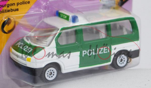 VW T4 Caravelle (Modell 1990-1995) Polizei-Mannschaftswagen, reinweiß/hell-moosgrün, innen lichtgrau