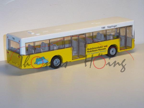 Linienbus Mercedes O 405 N, reinweiß/kadmiumgelb, links Abbildung von PKW, Eisenbahn und LKW, rechts