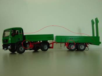 MAN TGA LKW ohne Raupenbagger, grün/rot, L17 (Sondermodell Siku-Museum)
