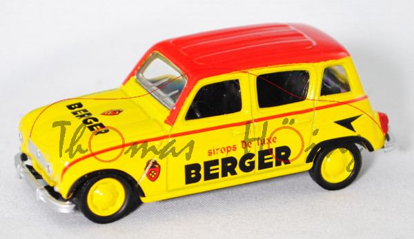 Renault 4L (Modell 61-67) Cycliste - BERGER, gelb, Dach rot, BERGER, 1:54, Norev SERIE 600 CYCLISTE