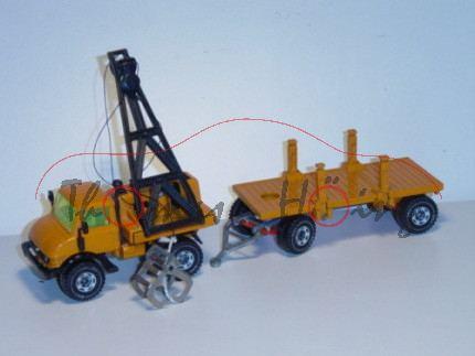 Unimog U 406 Rohrverleger mit Anhänger, gelborange, LKW10, ohne Rohre, Sprung in Verglasung, Schnüre