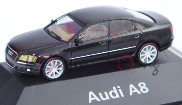 Audi A8 4.2 FSI quattro (D3, Typ 4E, Facelift 1, Modell 2005-2006), phantomschwarz, Herpa, 1:87, mb