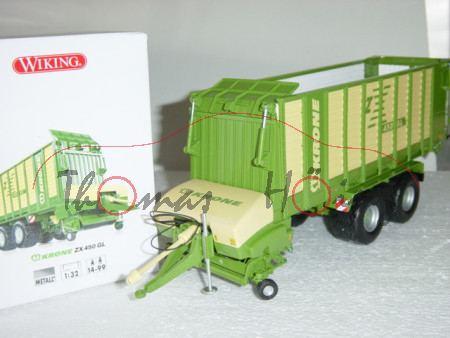 KRONE ZX 450 GL Ladewagen, smaragdgrün/hellelfenbein, Wiking, 1:32, mb